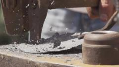 Sledgehammer missed by hammer. Slow motion. Stock Footage