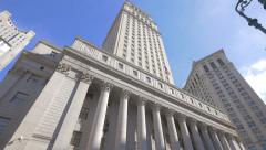 Thurgood Marshall United States Courthouse exterior building New York City NYC Stock Footage