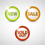 Vector round 3D icons for sale, new and sold out items - stock illustration