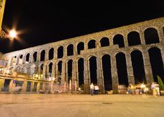 Night view of aqueduct of Segovia, Spain. Stock Photos