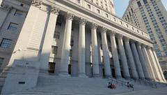 Thurgood Marshall United States Courthouse exterior building Manhattan NYC Stock Footage