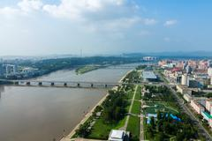 View of the city Pyongyang. Stock Photos