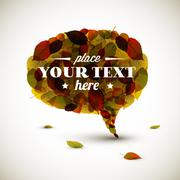 Speech bubble made of autumn leafs - stock illustration