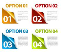 Set of Colorful Vector Sample option stickers Stock Illustration