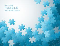 Vector background made from blue puzzle pieces - stock illustration