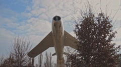 Old Historic Russian MIG-17 Fighter Jet Memorial In Großenhain Near The Airport Stock Footage