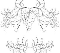 Black and white pattern of vine grapes for page decoration. EPS10 vector - stock illustration