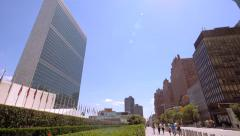 United Nations building headquarters New York City cityscape NYC sunny day - stock footage