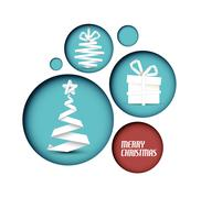 Vector christmas decoration made from white paper stripes in circles - stock illustration