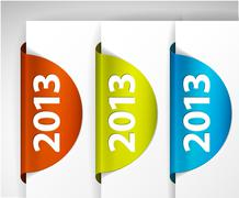 Vector 2013 round Labels / Stickers on the edge of the (web) page - stock illustration