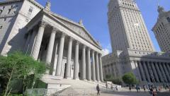 Supreme Court State New York Thurgood Marshall Courthouse street panning NYC Stock Footage