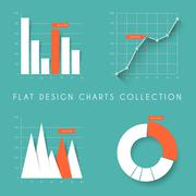 Set of vector flat design statistics charts and graphs - stock illustration