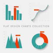 Set of vector flat design statistics charts and graphs - stock illustration