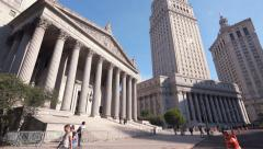 Supreme Court State New York Thurgood Marshall Courthouse Manhattan NYC sunny Stock Footage