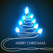 Vector background with christmas tree and lights Piirros