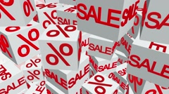 Cubes with sale and percents message in white Stock Footage