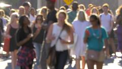 Stock Video Footage of Unrecognisable anonymous crowd people pedestrians walking New York City NYC