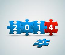 New Year 2014 card made from puzzle pieces - stock illustration