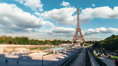 Eiffel Tower With Gardens Of The Trocadero, Paris, Tilt Shift Time Lapse Stock Footage