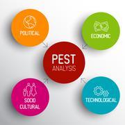Vector PEST diagram schema Stock Illustration
