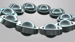 Rolling metal tubes and spheres Background - stock footage
