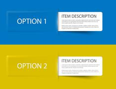 Set of Colorful Vector Sample option cards Stock Illustration
