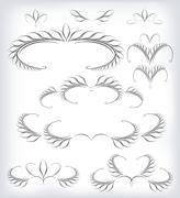 Stock Illustration of Black and white vector set a lot of patterns and page decoration. EPS10 vector