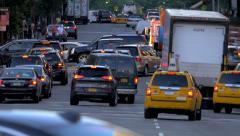 Street traffic rush hour cars congestion jammed intersection New York City NYC - stock footage