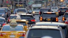 Manhattan busy street traffic rush hour cars congestion jammed New York City NYC - stock footage