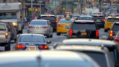Stock Video Footage of Heavy street traffic rush hour cars congestion commute jam New York City NYC day