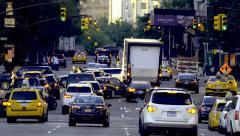Manhattan busy street traffic jam rush hour cars congestion New York City NYC Stock Footage