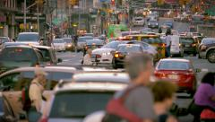 Heavy street traffic rush hour cars congestion commute jammed New York City NYC Stock Footage
