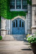 Classic blue wooden door for old church Stock Photos