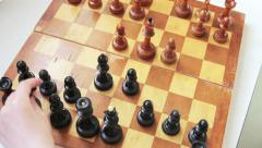 Old wooden chess. English Opening Stock Footage