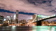 Panning shot of Brooklyn Bridge and the New York City skyline time lapse. Stock Footage