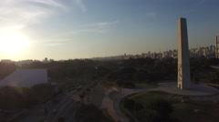 Aerial View Ibirapuera Park of Sao Paulo city, Brazil Stock Footage