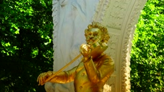 ULTRA HD 4K real time shot,The gilded bronze monument of  Strauss, Vienna Stock Footage