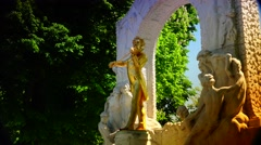 Stock Video Footage of ULTRA HD 4K real time shot,The gilded bronze monument of  Strauss, Vienna