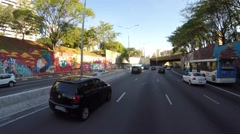 Driving in 23 de Maio Avenue, Sao Paulo, Brazil Stock Footage