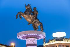 Alexander the Great statue in Skopje Stock Photos