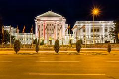 Government building by night in Skopje Stock Photos