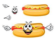 Hot dog sandwich cartoon character Stock Illustration