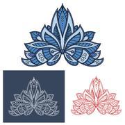 Bold outline floral paisley motif Stock Illustration
