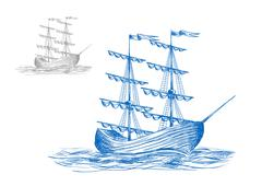 Stock Illustration of Medieval sail ship in ocean waves