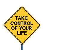 Yellow roadsign with Take Control Of Your Life message - stock photo