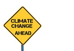 Yellow roadsign with Climate Change Ahead message - stock illustration