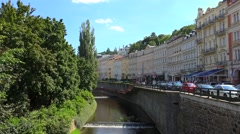 Types of Karlovy Vary. Zahradni waterfront of the Tepla river Stock Footage