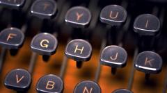 Light Sweeps Across Typewriter Keys Close Up Stock Footage