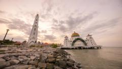 Beautiful sunrise at Melaka Strait Mosque Stock Footage
