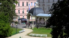 Stock Video Footage of Types of Karlovy Vary. Park Colonnade. Bohemia, Czech Republic.
